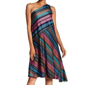 Maggy London One Shoulder Striped Dress